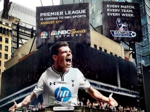 NBC's highly publicized Gareth Bale advertisement, sporting the 2013-14 Tottenham Hotspur home kit, on display in Times Square