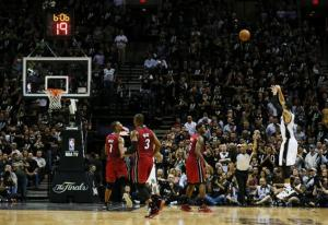 Danny Green nails one his record 27 three-pointers in the 2013 NBA Finals