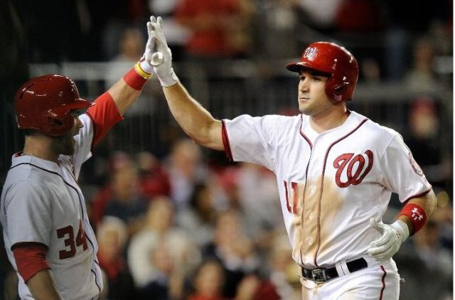 Harper and Zimmerman high-five following a home run by Zimmerman on Sep. 17. Photo Credit: Greg Flume/Getty Images
