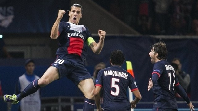 Ibra celebrates vs Benfica