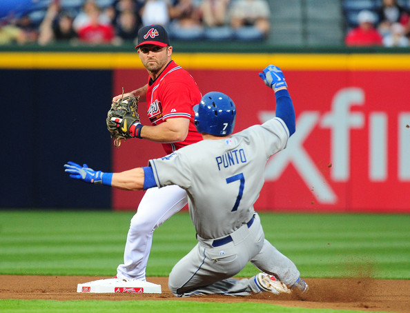 Punto slides vs. Braves