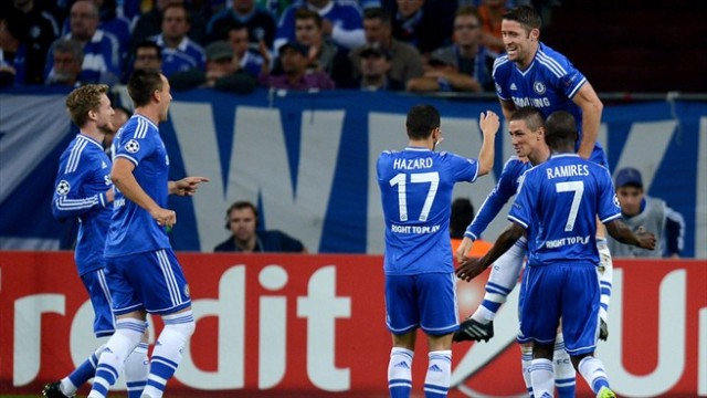 Torres and Chelsea celebrate vs Schalke