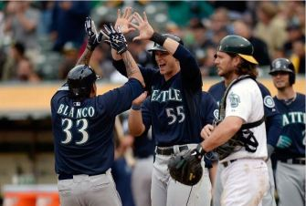 Henry Blanco hit a couple grand slams with the Mariners. They were both awesome. Here's one of them.