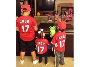 We may not have a shot of Shin Soo Choo in a Texas Rangers jersey, but we do have his kids in Rangers shirseys.