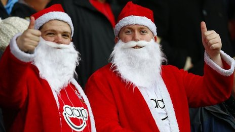 We'll leave you with a couple of Southampton fans dressed as Santa Claus. Happy Holidays, people.
