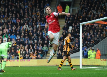 Aaron Ramsey celebrates after scoring against Hull City less than one month ago.
