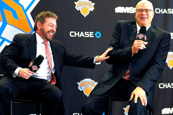 From left: James Dolan, owner of the New York Knicks and MSG, and Phil Jackson at the announcement of Phil as President of the Knicks.