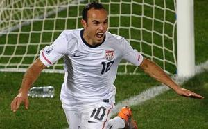 Landon Donovan, shown here celebrating his historic stoppage time goal against Algeria in 2010, has been left off team USA's World Cup roster. Will Klinsman regret leaving the USA's all-time leading scorer at home? We'll find out soon enough.