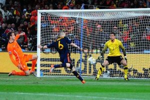 Andres Iniesta scores the only goal of the 2010 World Cup final to make Spain the World Champions, 11 Jul;y 2010. Pic Neil McCartney