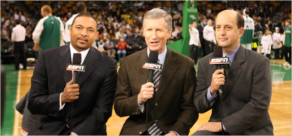Your broadcast team for the Eastern Conference Finals and the NBA Finals on the networks of ABC and ESPN, from left to right: Mark Jackson, Mike Breen and Jeff Van Gundy. Photo Credit: Scott Clarke/ESPN