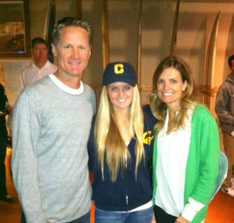 From Left: Steve Kerr, his daughter Maddy who is a volleyball player at Cal and just finished her freshman year, and Steve's wife Margot
