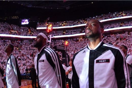 LeBron James and Dwyane Wade during pregame festivities. Photo Credit: Jesse D. Garrabrant/NBAE via Getty Images