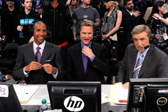From Left: Reggie Miller, Steve Kerr (who will begin his term as head coach of the Golden State Warriors as soon as the playoffs end) and Marv Albert will call the Western Conference Finals on TNT