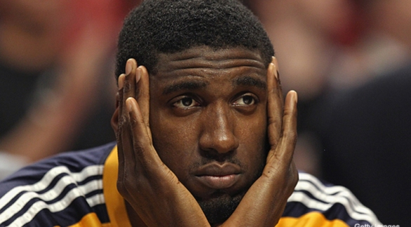 "I call this one ""Roy Hibbert, dejected."""