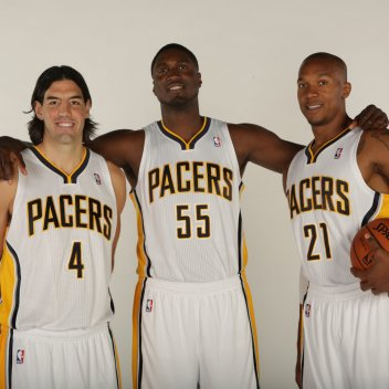 (From Left: Luis Scola, Roy Hibbert and David West). This season, Luis Scola has contributed 7.6 ppg, 4.8 rpg and 47% from the field in 17.1 minutes per game off the bench as a member of the Pacers front court. Photo Credit: Ron Hoskins/Getty Images