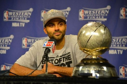 Will Tony Parker have the Western Conference Championship trophy alongside him yet again? Photo Credit: Jesse D. Garrabrant/NBAE via Getty Images