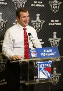 Alain Vigneault was all smiles following the Rangers' Eastern Conference Finals victory. Photo Credit: Scott Levy/NHLI via Getty Images