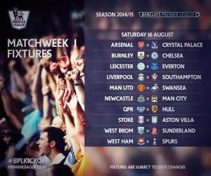 2014-15 EPL Week 1 Schedule