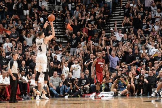 Danny Green drills a three-pointer in the Spurs' Game 1 victory. Photo Credit: Andrew D Bernstein/NBAE via Getty Images