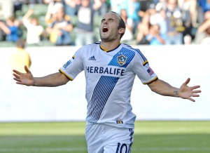 Landon Donovan (seen here celebrating his record breaking 135 career MLS goal) is one of the players most thing should be going to Brazil, will the US miss his leadership and goal scoring threat?