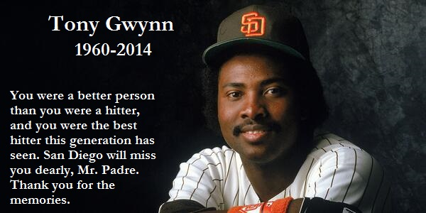 Courtesy of Mr. Gwynn's BRef page, which is rightfully adorned in the upper right quadrant with a black armband.