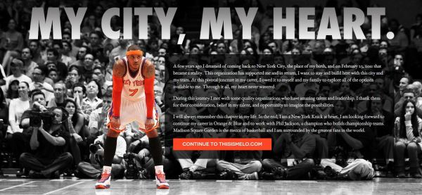 Carmelo Announcement his website
