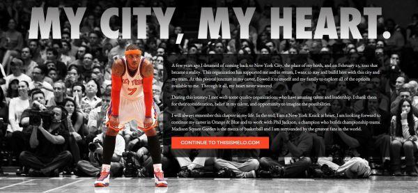 Carmelo Announcement his website