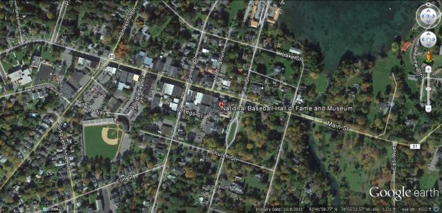 Google Earth baseball hall of fame screenshot