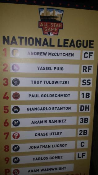 NL All Star Starting Lineup 2014