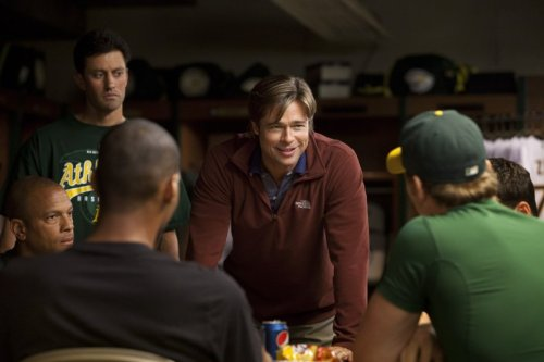 Billy Beane, seen here in the A's clubhouse, pushed all of his chips into the center of the table at the deadline. Or at least, that's the cliche all of the pundits/experts are going with. Photo Credit: Sony Pictures