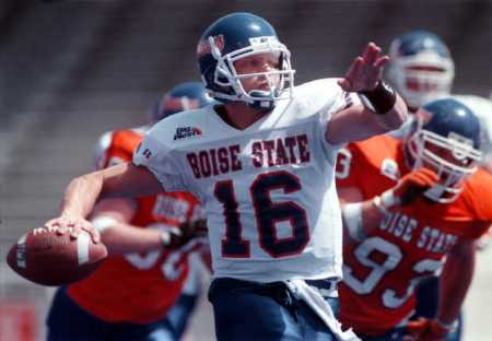 First year Boise State head coach Bryan Harsin, above, has returned to his alma mater where he was played quarterback from 1995-99. Photo courtesy of The Idaho Statesman.