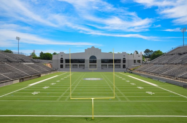 The Cramton Bowl is located right next to a cemetery, which should surprise no one.