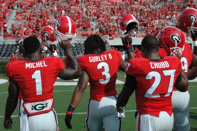 Georgia's running backs (From left); Sony Michel, Todd Gurley, and Nick Chubb. Combined, the three make up the 12th best running game in the country. Photo courtesy of  Logan Booker/Bulldawg Illustrated.