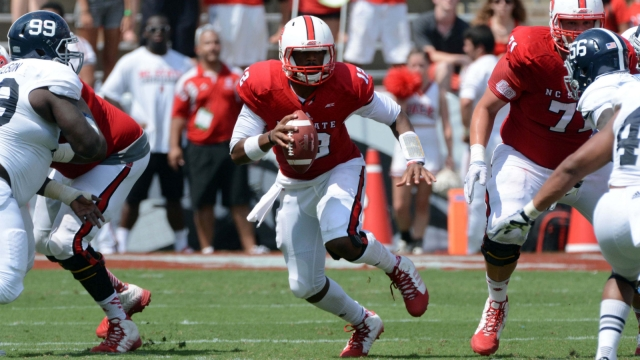 A transfer from the University of Florida, quarterback Jacoby Brissett is a dual-threat on offense for the Wolfpack.
