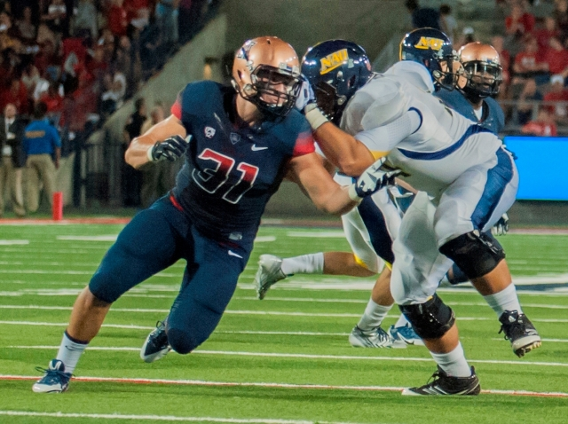 "Ajayi will be tasked with getting by Arizona LB ""Two-star"" Scooby Wright, an AP All-American himself. Photo courtesy of Arizona Athletics."