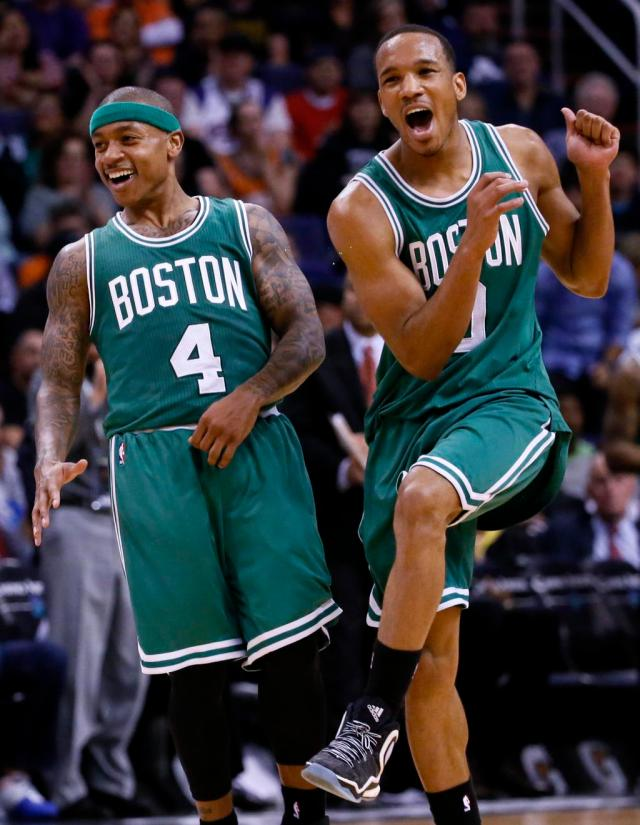 You can tell that these two guys out of Tacoma (Isaiah Thomas, left, and Avery Bradley) are psyched to be on this roster!