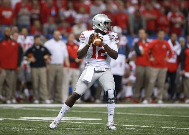 I think we all learned quite a bit about Cardale Jones from his Sugar Bowl performance. He's not an elite college quarterback by any stretch, but he can make deep throws, and he's a tough runner who is difficult to bring down because of how big he is. Photo credit to Chris Graythen/Getty Images.