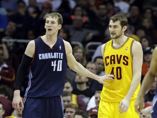 Cody Zeller, left, is seen here defending his brother Tyler in an April 2014 game. Though Tyler is no longer with the Cavaliers, both players still have significant potential in the NBA. Photo credit to Mark Duncan/AP.