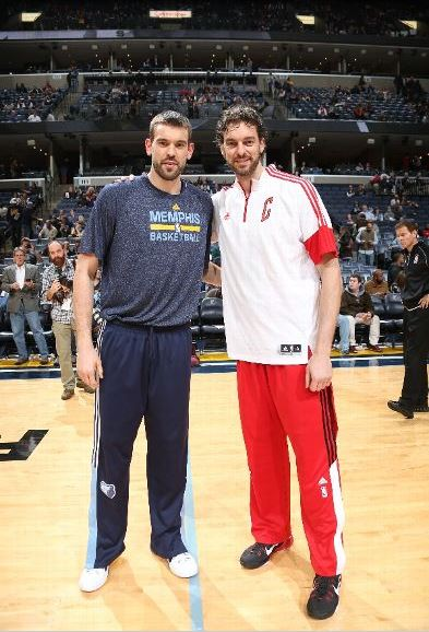 Prior to their game on December 19, 2014 in Memphis, Marc, left, and Pau had a chance to pose together for a photo op. The Gasol brothers are the best pair of brothers in the Association today. Photo credit to Joe Murphy/NBAE via Getty Images.