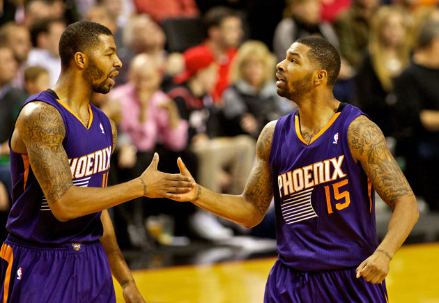 From left, Marcus and Markieff Morris. The deep shooting big men are part of a talented roster in Phoenix. Photo credit to USA Today.